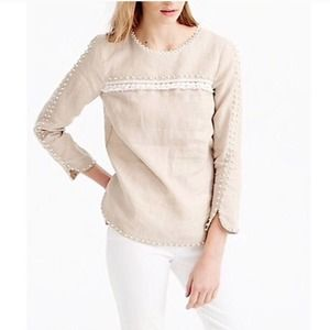 J. Crew Embroidered Linen Long Sleeve Blouse 0
